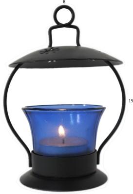 Raja Arts Blue Glass Tealight Holder Set