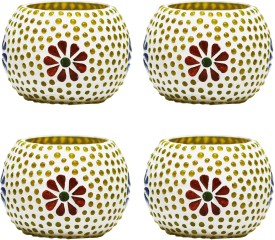 CraftJunction Set of 4 Handcrafted Mosaic Glass 4 - Cup Tealight Holder Set(Multicolor, Pack of 4)