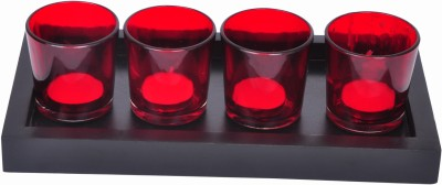 Tiedribbons Glass 4 - Cup Tealight Holder Set(Multicolor, Pack of 4)