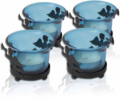 Painting Mantra Designer & Decorative Blue Wax Candles Glass 1 - Cup Tealight Holder Set(Blue, Pack of 4)