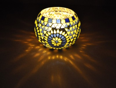 Lal Haveli Decorative Planter, Pan Stand Morocan Light Glass 1 - Cup Tealight Holder
