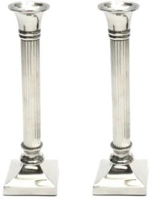 Indian Reverie Aluminium, Nickel Candle Holder Set