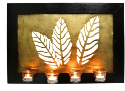 Indikala Elegant Leaf Frame with Four Glass Candle Holders ( 22 X 15 Inches) Wooden 4 - Cup Tealight Holder