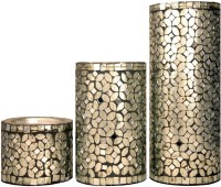 Craftghar Silver & Onyx Mosaic Pillar Glass, Wooden 3 - Cup Candle Holder(Silver, Pack of 3)
