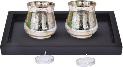 Tiedribbons Glass 2 - Cup Tealight Holder Set(Multicolor, Pack of 2)