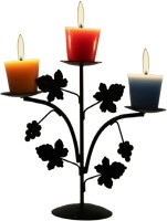 Aesthetic Decors Iron 3 - Cup Candle Holder(Black, Pack of 1)