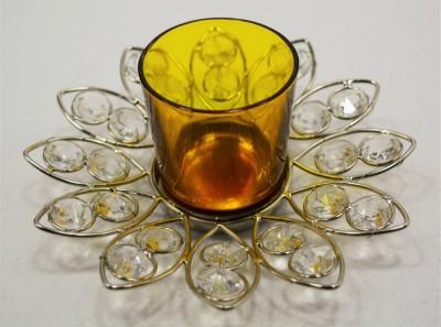 Reverence Glass, Iron, Crystal Tealight Holder