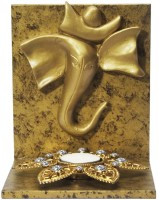 Butterfly Homes Ganesha Tea Light-BH-CS-12-068 Wooden 1 - Cup Tealight Holder Set(Gold, Brown, Pack of 1)
