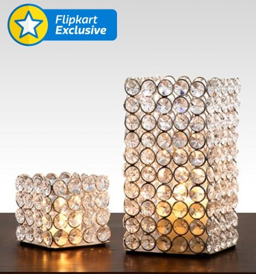 Being Nawab Lustrous Set Of Cubicles Crystal, Iron 2 - Cup Tealight Holder Set