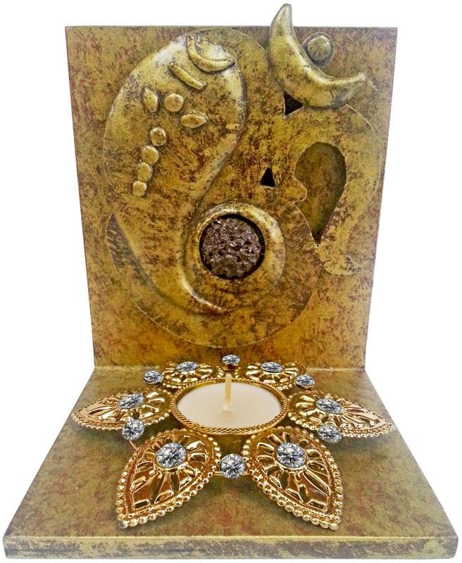 Butterfly Homes Ganesha Tea Light-BH-CS-10-106 Wooden 1 - Cup Tealight Holder Set(Silver, Black, Pack of 1)