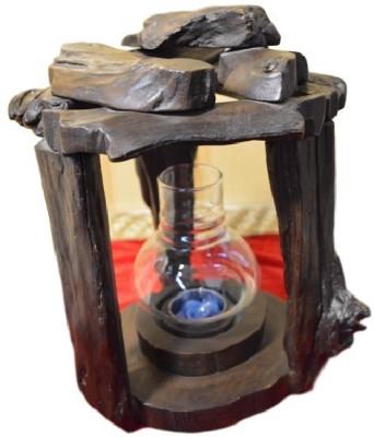 POOJA GHAR ROUND VERTICAL SINGLE SET Wooden Tealight Holder