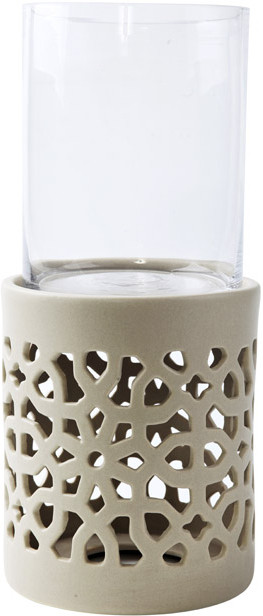 Foyer Ceramic Tealight Holder(Beige, Pack of 2)