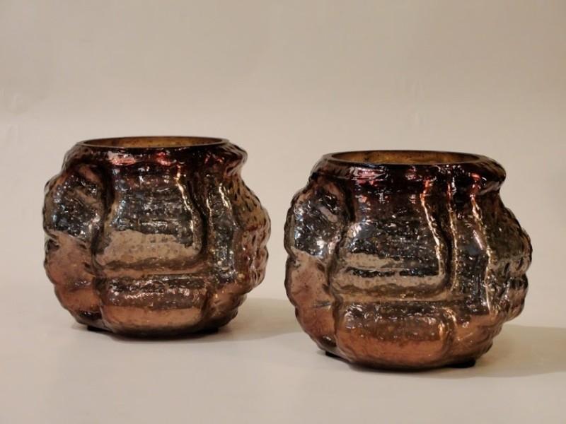 Foyer Glass Tealight Holder(Brown, Pack of 2)