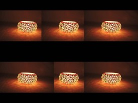 Gojeeva Glass 6 - Cup Tealight Holder(Multicolor, Pack of 6)