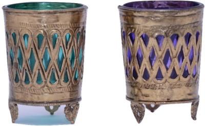 SDJV RETAILERS Brass, Glass Tealight Holder Set