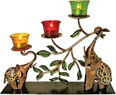 Handicrafts Siddh Arts Decorative Elephant Design Iron 3 - Cup Tealight Holder