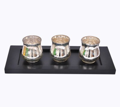Tiedribbons Glass 3 - Cup Tealight Holder Set(Multicolor, Pack of 3)