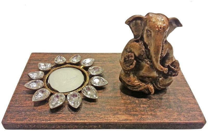 Butterfly Homes Ganesha Tea Light-BH-CS-10-065 Wooden 1 - Cup Tealight Holder Set(Brown, Black, Pack of 1)