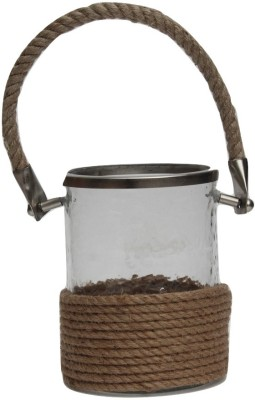 Kala Bhawan Clear Glass Rope Covered Iron 1 - Cup Candle Holder