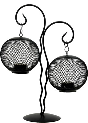 Aesthetic Decors Iron 2 - Cup Candle Holder(Black, Pack of 1)