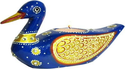 Raja Arts Golden Blue Handpainted Wooden 1 - Cup Tealight Holder