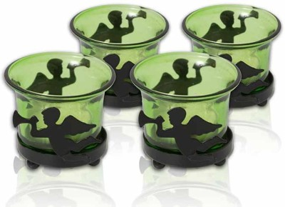 Painting Mantra Designer & Decorative Green Wax Candles Glass 1 - Cup Tealight Holder Set(Green, Pack of 4)