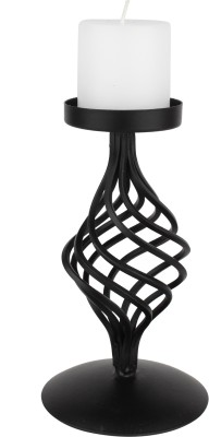 Aesthetic Decors Iron Candle Stand With Globe Design Iron 1 - Cup Candle Holder(Black, Pack of 1)