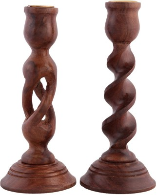 Decorhand Wooden 2 - Cup Candle Holder