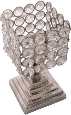 eCraftIndia Love Moments Square Shape Crystal 1 - Cup Tealight Holder(White, Silver, Pack of 1)