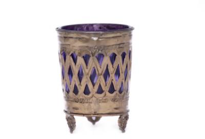SDJV RETAILERS Glass, Brass Tealight Holder
