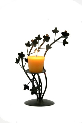 Aesthetic Decors Iron 1 - Cup Candle Holder(Black, Pack of 1)