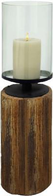 Kala Bhawan 18x7 Light Wood Clear Glass Hurricane Glass 1 - Cup Candle Holder