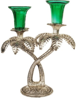 Excellent4U Palm Tree Cast Iron, Glass 2 - Cup Candle Holder Set