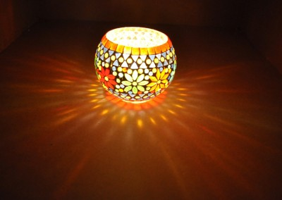 Lal Haveli Colorful Planter, Pan Stand Mosaic Work Light Glass Tealight Holder