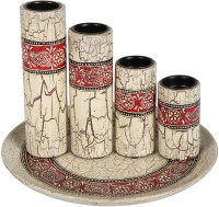 Rajrang Paisley Candle Holder Wooden 4 - Cup Candle Holder Set(White, Pack of 5) best price on Flipkart @ Rs. 1269