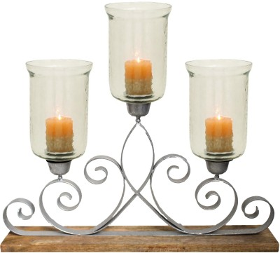 Kala Bhawan Silver Foiled Metal Runner 30x25 Glass 3 - Cup Candle Holder