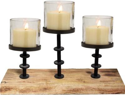 Kala Bhawan Three Pillar Lite Wood Candle Runner 17x8 Glass 3 - Cup Candle Holder