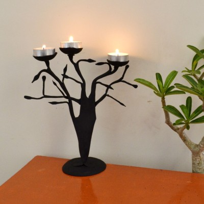 Chinhhari Arts Tree Candle stand Iron 3 - Cup Candle Holder