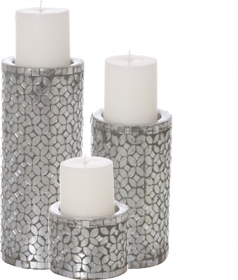 Aadyan Creations Aluminium 3 - Cup Candle Holder Set(Silver, Pack of 3)