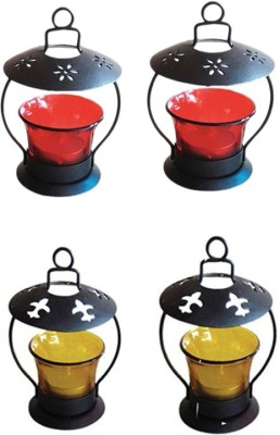 Craftatoz Iron Candle Holder(Multicolor, Pack of 4)