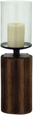 Kala Bhawan 18x7 Wood Clear Glass Hurricane Glass 1 - Cup Candle Holder