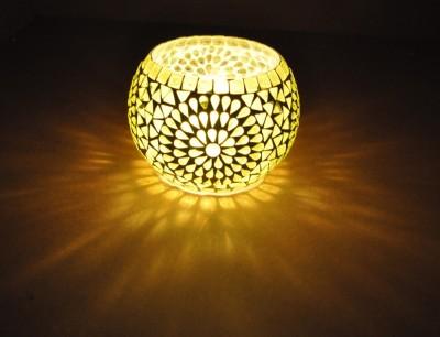 Lal Haveli Beautiful Mosaic Work Light Flower Pot,Pan Stand Glass 1 - Cup Tealight Holder