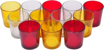 Tiedribbons Glass 12 - Cup Tealight Holder Set(Multicolor, Pack of 12)