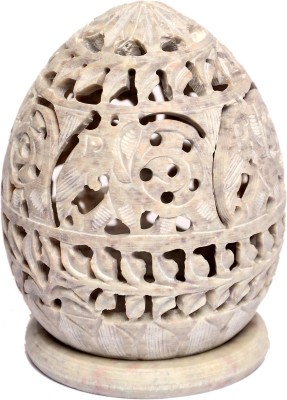 Artist Haat Handcarved Natural Soapstone Stoneware 1 - Cup Tealight Holder