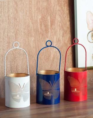 Orange Tree Butterfly set of 3 Iron 3 - Cup Tealight Holder Set