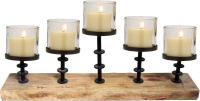 Kala Bhawan Five Pillar Lite Wood Candle Runner 24x8 Glass 5 - Cup Candle Holder