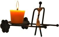Aesthetic Decors Man Cart Iron 1 - Cup Candle Holder(Black, Pack of 1)