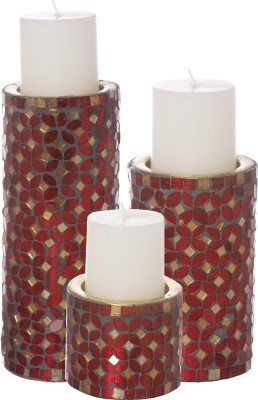 Aadyan Creations Aluminium 3 - Cup Candle Holder Set(Red, Pack of 3)