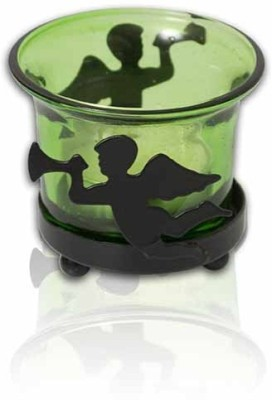 Painting Mantra Designer & Decorative Green Wax Candles Glass 1 - Cup Tealight Holder(Green, Pack of 1)