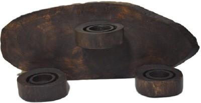 POOJA GHAR HORIZONTAL SET 3 Wooden Tealight Holder Set
